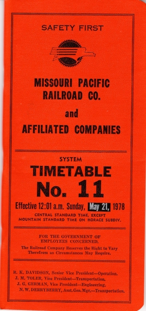 MP Employee System Timetable No. 11